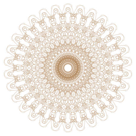 Decorative gold flower with vintage round patterns Vector