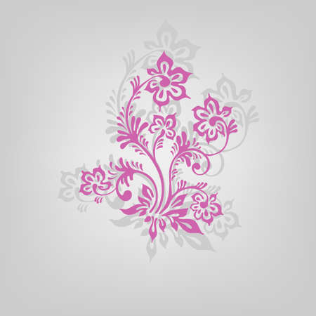 colored swirly background with splats and retro floral elements Vector