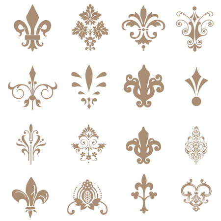 royal french lily symbols: Lily flower. Vector image isolated on white background. Illustration