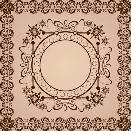 Vintage background, antique, baroque frame, beautiful old paper, card, ornate cover page, label; floral luxury ornamental pattern template for design Vector