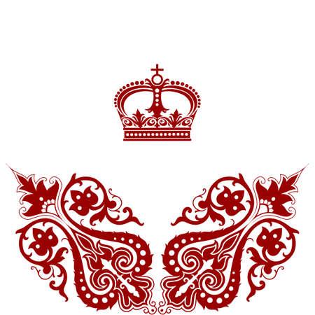 Elegant  frame banner with crown, floral elements. Vector illustration. Vector