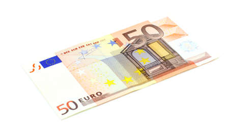 50 euro: close-up of 50 Euro banknote isolated on white background Stock Photo