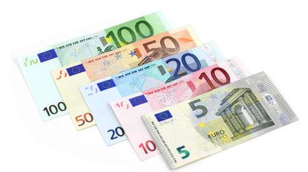 Euro banknotes. on a white background photo