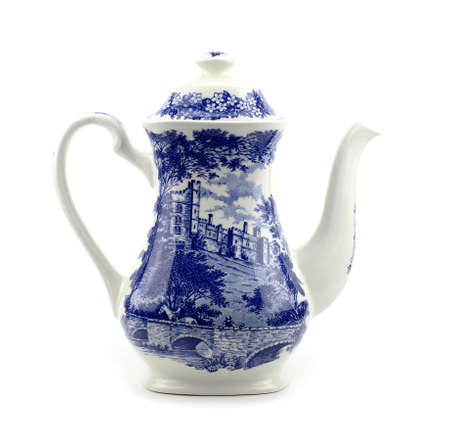 chinese teapot: Blue and white porcelain Chinese porcelain teapot with blue motif