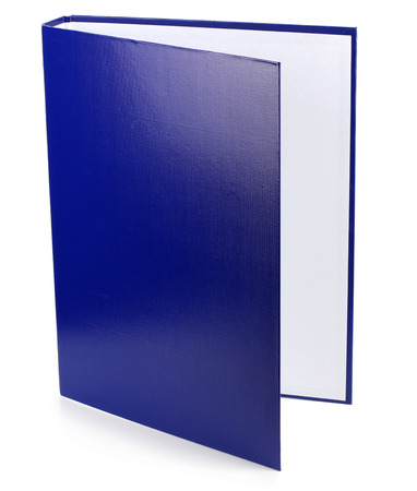 blue folder for documents on white background photo