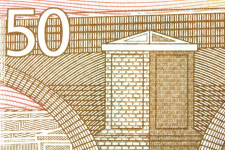 monetary devaluation: close up of 50 euro..
