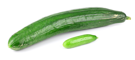 unsliced: two cucumbers on a white background Stock Photo