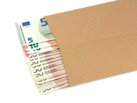 batch of euro: envelope with money on a white background.Corruption concept.