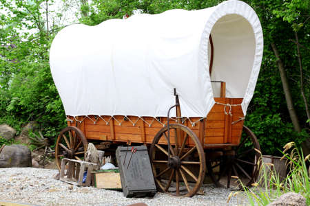carriages: wooden horse carriage. Coverage Wagon. antique  horse drawn.