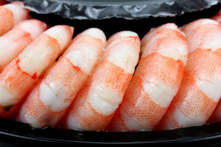FRESH seafood: Shrimps. Prawns isolated on a White Background. Seafood Stock Photo
