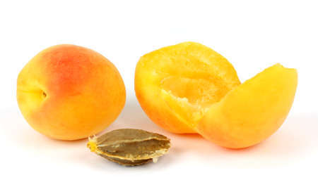 yellow plums on a white background isolated photo