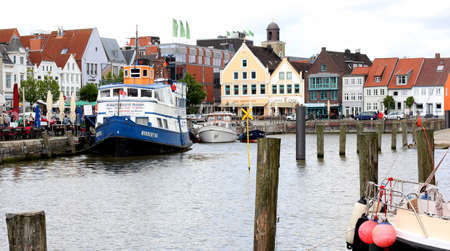 Beautiful view of the old town of Husum..