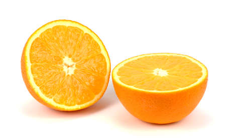 two and a half: Orange fruit half  two segments  isolated on white background