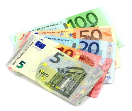 banconote euro: Pila di banconote in euro isolato Archivio Fotografico