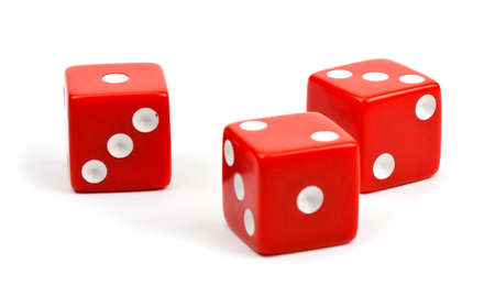 dice: Red dice on white background.