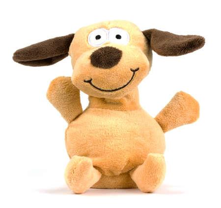 snugly: Isolated plush toy dog on white background