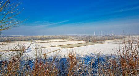 railway points: a wonderful winter landscape. Germany. Stock Photo