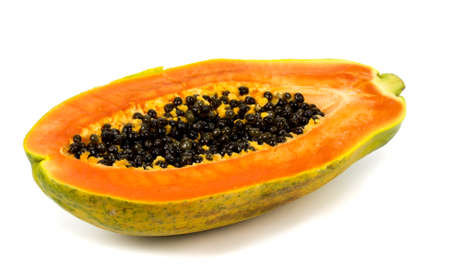grope: papaya fruit close up isolated on white background Stock Photo