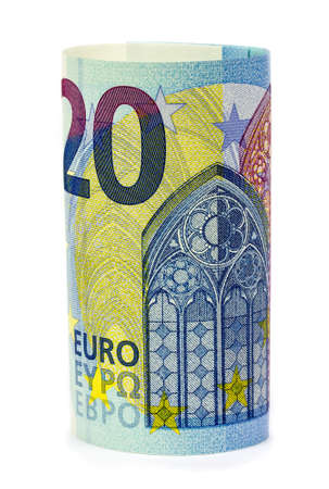 euro notes: A roll of 20 Euro notes