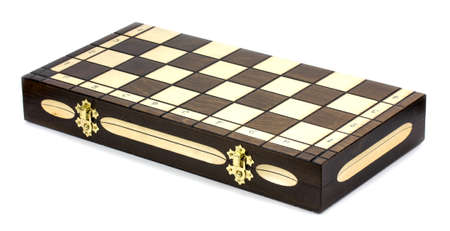 chess board: wooden chess board isolated on white background
