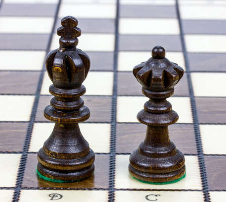chess board: Two wooden chess pieces alone on a chess board.