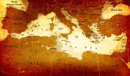 Old Mediterranean Map photo