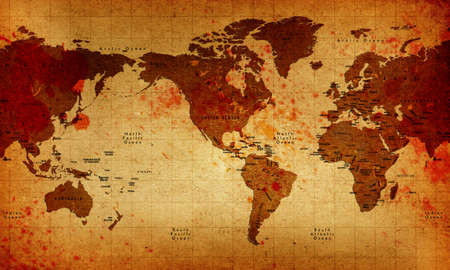 the borderline: Old America Centered Bloody World Map Stock Photo