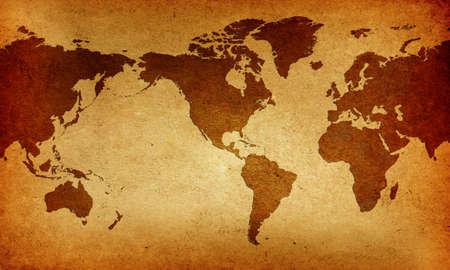 centered: Old America Centered World Map