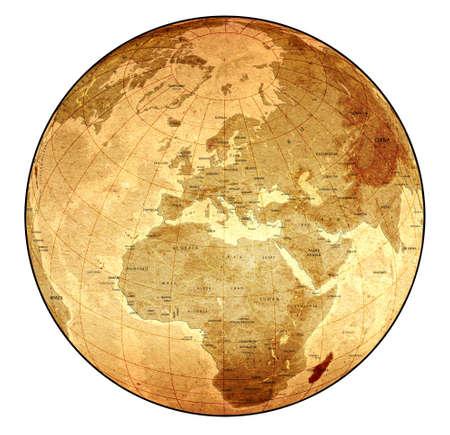 the borderline: Detailed Old Globe Stock Photo