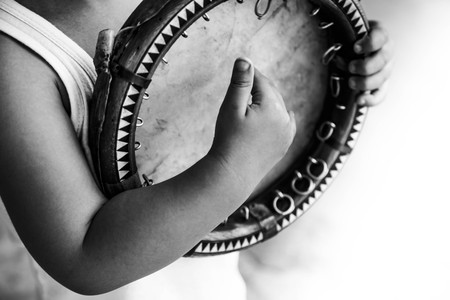 b w: Shild with uzbek national instrument doira (b & w)