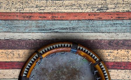 Central Asian tambourine. Uzbek doira. The traditional uzbek musical instrument doira, Bukhara, Uzbekistan Stock Photo