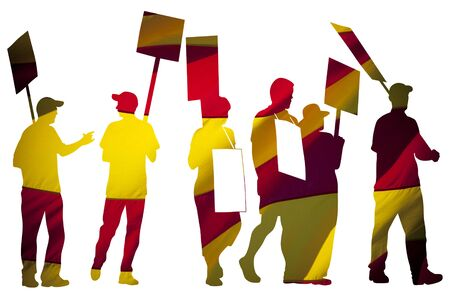manifest: Silhouettes of protesting people against the the flag of Barcelona on white background. Isolated. People are on strike. Independence of the catalonia. Departure from Spain. A crisis. Barcelona, Spain. Stock Photo