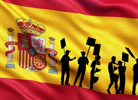barcelona: Silhouettes of protesting people on the flag of Spain. People are on strike. Independence of the catalonia. Departure from Spain. A crisis. Barcelona, Spain.