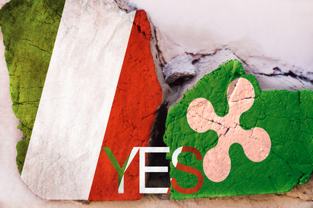 Illustration of relations between Italy and Lombardia. Referendum symbol with the text: YES. Square log wood with flags of Italy and Lombardia
