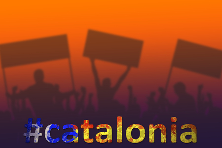 Silhouettes of protesting people. Political concept. Spain, Catalonia Referendum. Hashtag filled with catalun flag. Stock Photo - 88640674