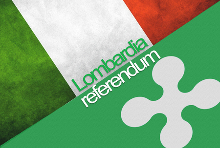 Flags of Italy and Lombardia on background with text: LOMBARDIA REFERENDUM. Stock Photo