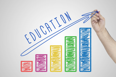 Education concept. Hand drawing Increasing chart showing the growth of Education quality Foto de archivo