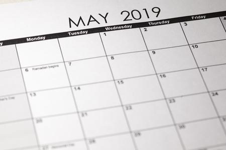 Close up macro photo of 2019 calendar monthly calendar. May month
