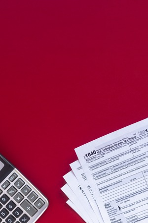 US Tax form. April 15th. Business financial concept. Tax background. Copy space