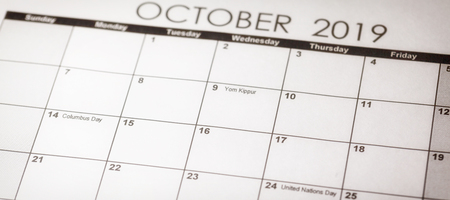 Yom Kippur in selective focus on October 2019 calendar