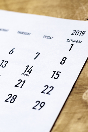 Close-up view of June calendar. Flag Day of United States, celebrated on June 14, 2019 year Stock Photo