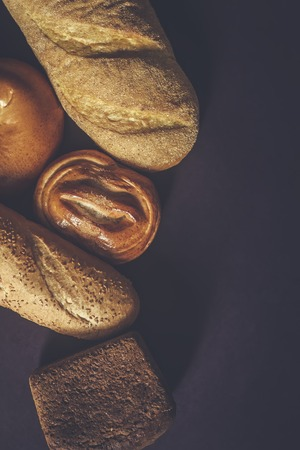 Food concept. Different type breads. Top view. Free space for text. Copy space Banque d'images