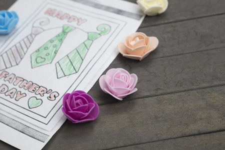 Happy Fathers Day concept. childrens coloring and roses