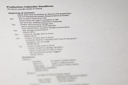 production calendar deadlines concept. Vertical image of business document