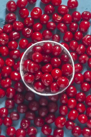 Pile of ripe cherries on blue background. Cherry background. Fresh organic berries. Healthy fruit Reklamní fotografie - 124858799
