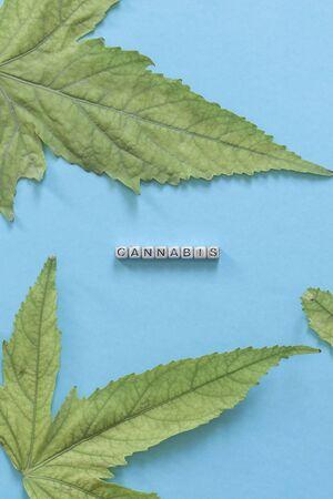 Cannabis text with cannabis leaves. Cannabis business. Marijuana Legalization concept. Stok Fotoğraf