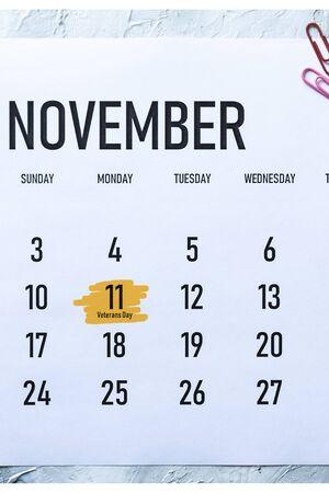 Veterans Day or Armistice Day - Monday, November 11 marked on Calendar 版權商用圖片