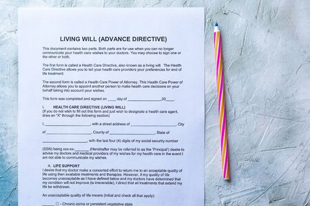 Filling Living Will Advance Directive form. Top view