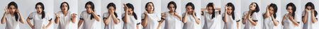 Collage of cute woman in a white t-shirt with different facial expressions. Collection of beautiful female portraits making different emotions against a white background Standard-Bild