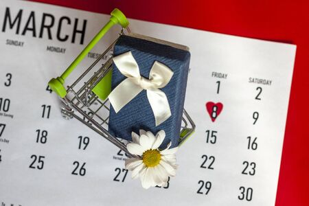 March 2020 monthly calendar with 8th march marked or highlighted and shopping cart with giftbox. International women day. Present with March calendar with a bunch of spring flowers. Top view